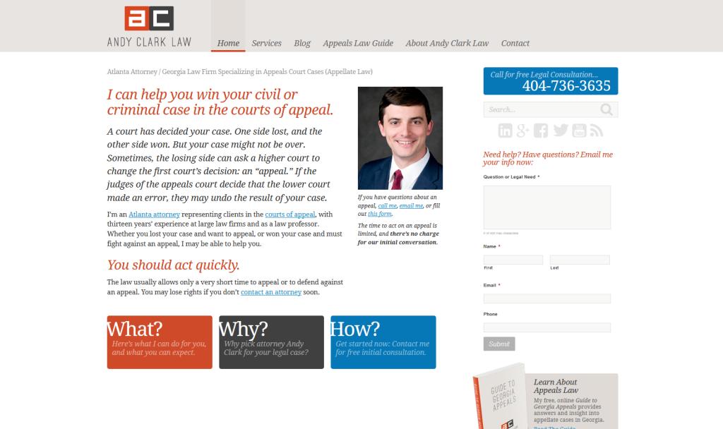 Website custom designed for a startup Atlanta law firm