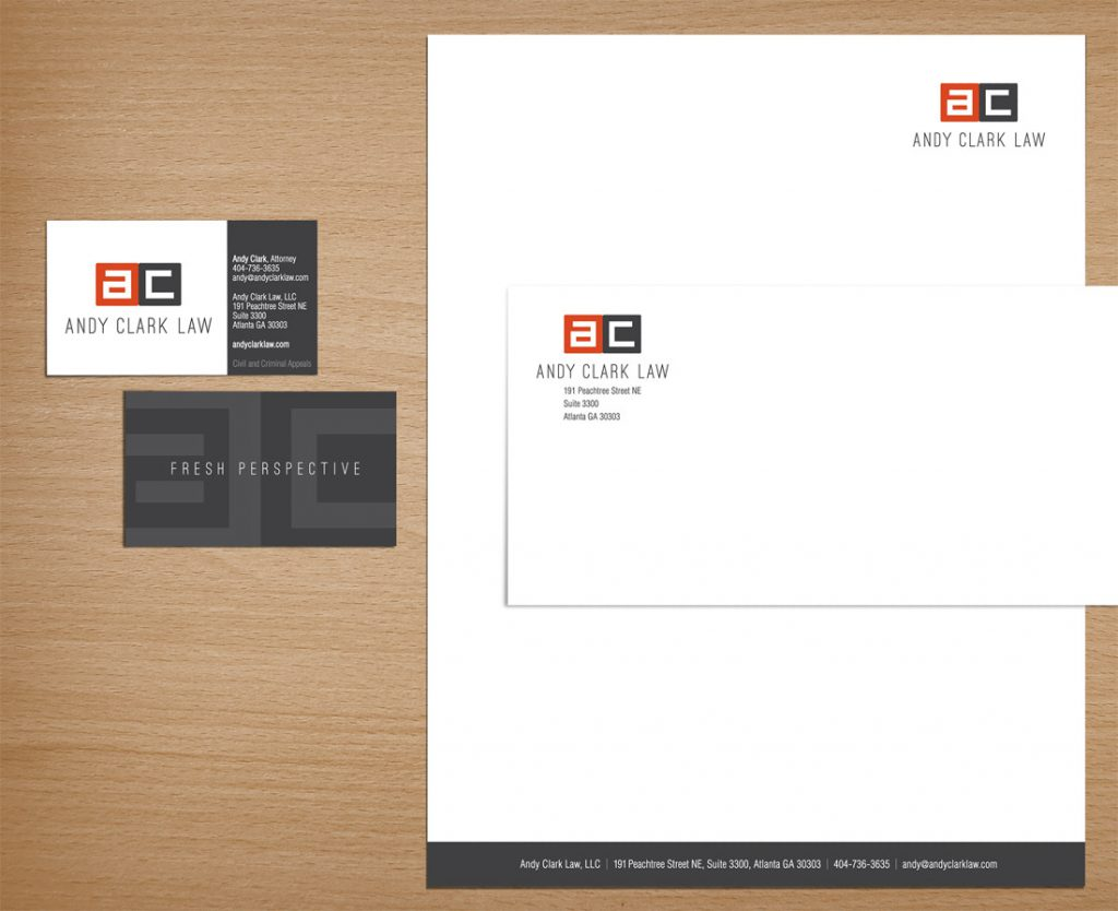 Stationery (business cards, letterhead, envelopes) designed for Atlanta law firm