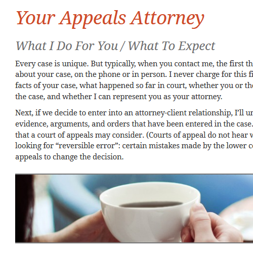 Copy/text from an Atlanta law firm's WordPress-based website