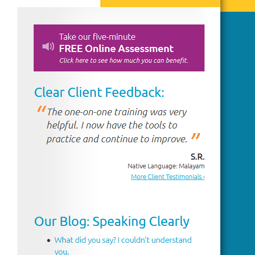 Website designed with clear call to action and customer testimonials
