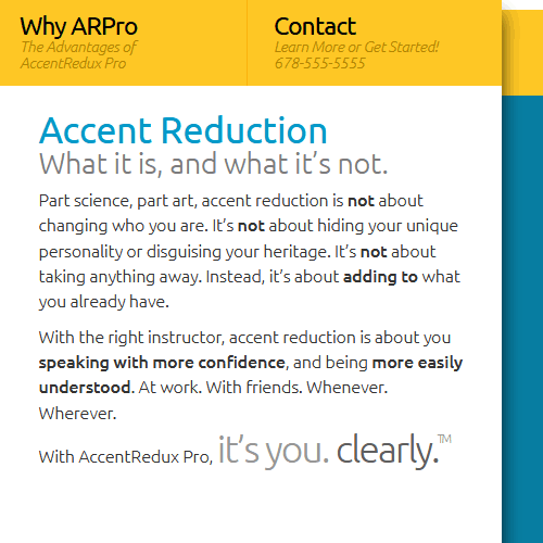 Copywriting and tagline example for Atlanta accent reduction website