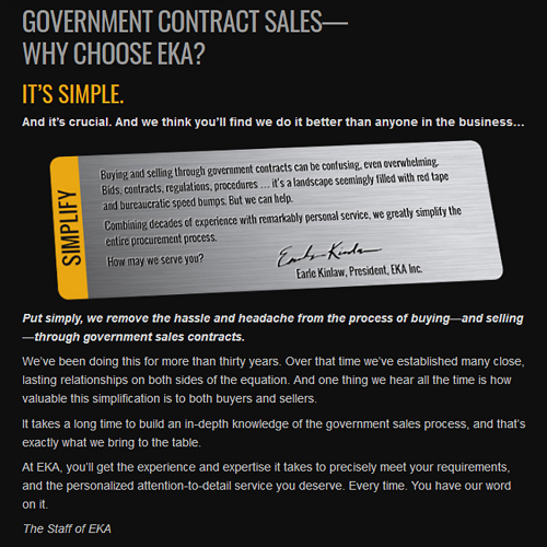 A custom designed web site for a company that sell through government contracts.