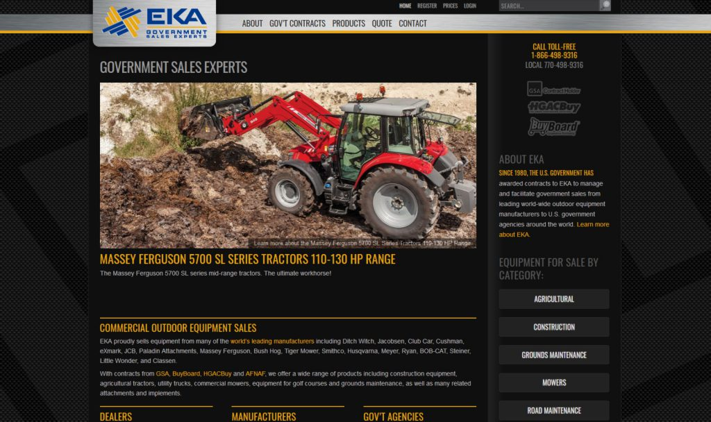 A website showing heavy equipment clearing land