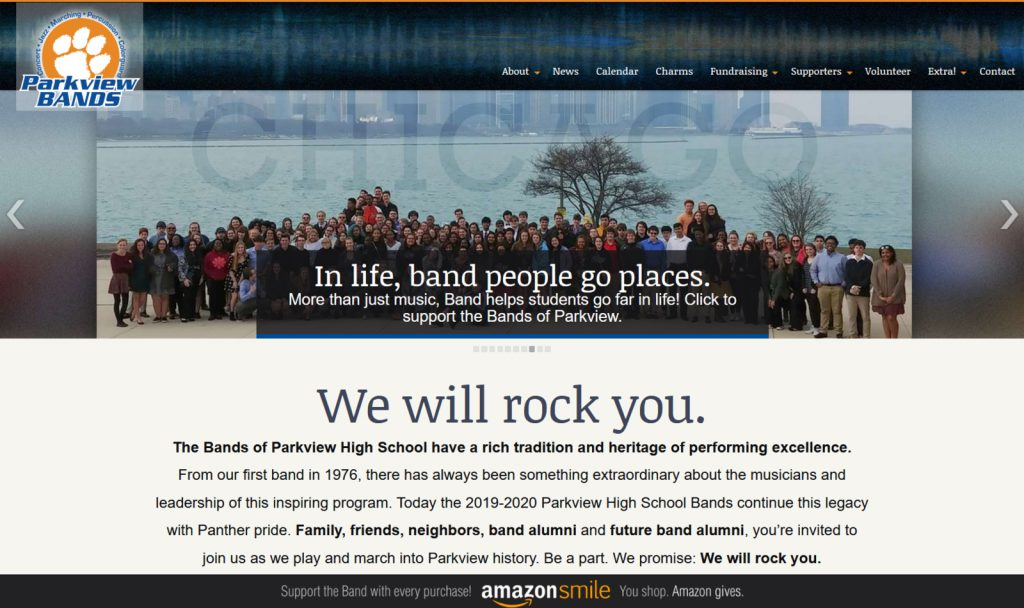 Web design example of a WordPress site for Parkview Band